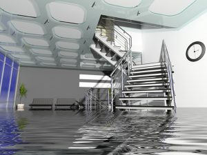 Flooded building in need of emergency flood cleanup services