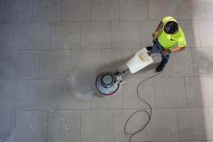 Cleaning Floors in Commercial Building